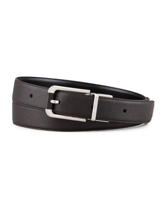 Endeavor Reversible Buffalo Leather Belt, Black/Brown