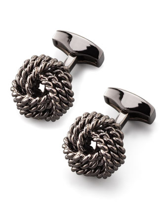 Knot Round Cuff Links, Gunmetal