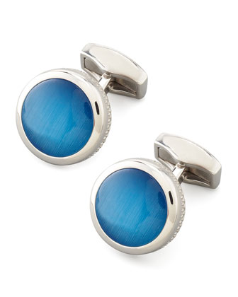 Round Fiber Optic Glass Cuff Links, Blue