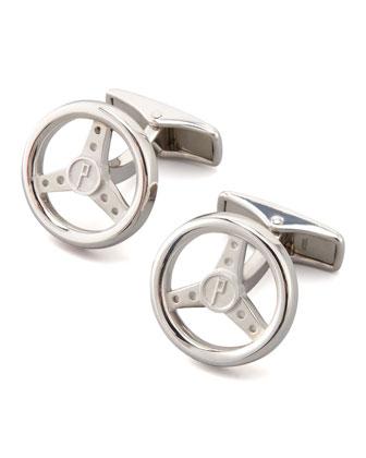 Silver Steering Wheel Cuff Links