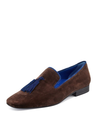 Velvet Tassel Smoking Slipper, Brown