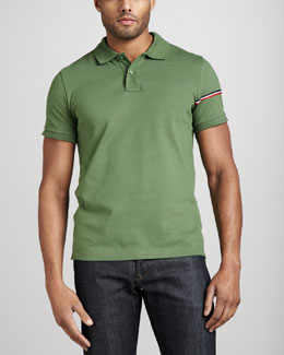 Moncler Flag-Sleeve Polo, Green