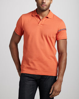 Moncler Flag-Sleeve Polo, Orange