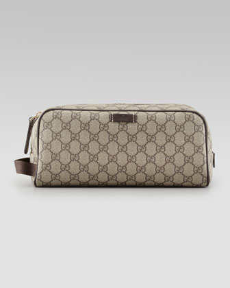 GG Supreme Toiletry Bag, Beige/Brown