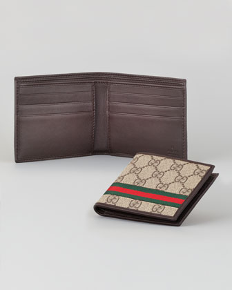GG/Leather Bi-Fold Wallet, Beige