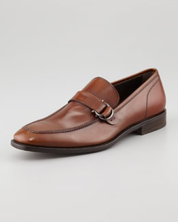 Salvatore Ferragamo Teo Side-Ornamented Loafer, Almond