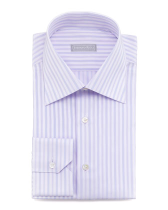 Tonal-Stripe Dress Shirt, Lavender
