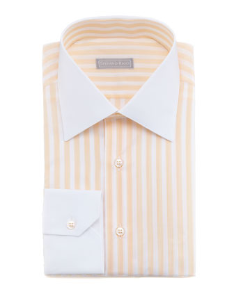 Contrast-Collar Striped Dress Shirt, Orange 20
