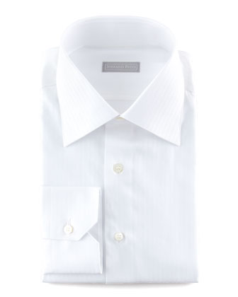 Textured-Stripe Dress Shirt, White 1