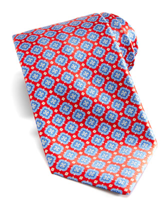 Floral-Medallion Silk Tie, Red