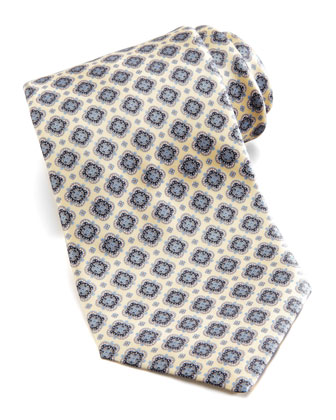 Floral Medallion Silk Tie, Yellow