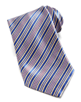 Floral-Stripe Silk Tie, Blue/Multi