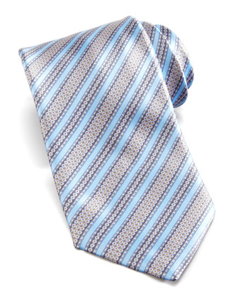 Floral-Stripe Silk Tie, Light Blue/Multi