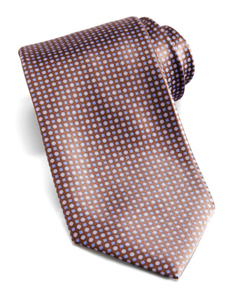 Floral-Neat Silk Tie, Brown