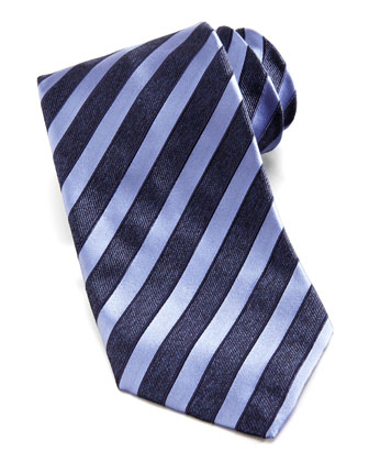 Wide-Stripe Silk Tie, Navy/Lavender