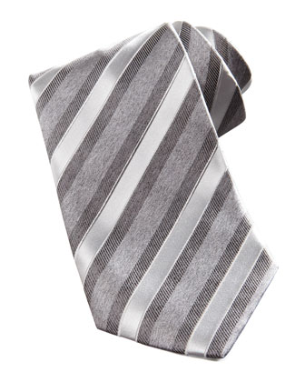 Wide Textured Stripe Silk Tie, Grey