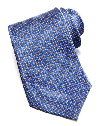 Medium Floral Medallion Silk Tie, Navy