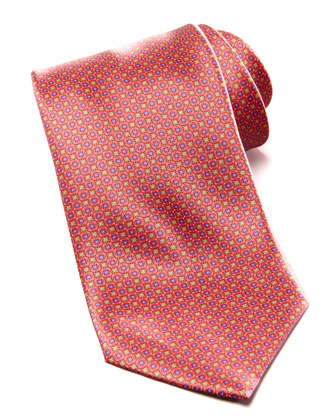 Medium Floral Medallion Silk Tie, Coral