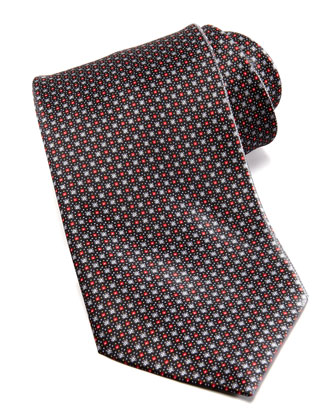 Medium Floral Medallion Silk Tie, Black