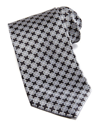 Linked Tiles Silk Tie, Black