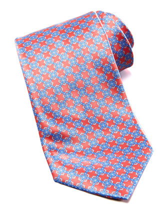 Linked Tiles Silk Tie, Coral