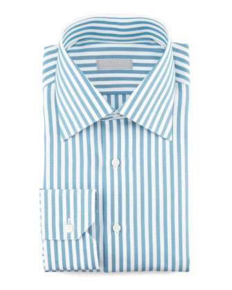 Awning Stripe Dress Shirt, Teal