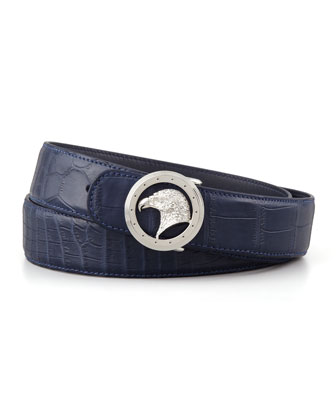 Eagle Buckle Crocodile Belt, Blue