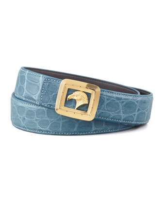 Eagle Buckle Crocodile Belt, Teal