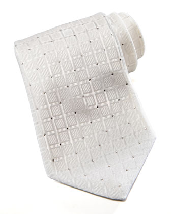 Squares Silk Tie, White