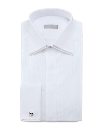 Crystal-Trim Tuxedo Shirt