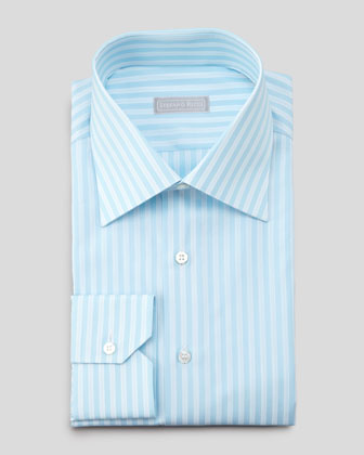 Texture-Stripe Dress Shirt, Aqua/White