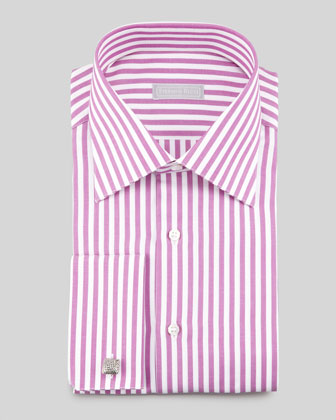 Awning Stripe Dress Shirt, Magenta/White
