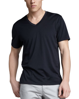 Claey Silk-Cotton Tee, Navy