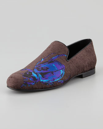 Sloane Men's Scarab-Embroidered Smoking Slipper