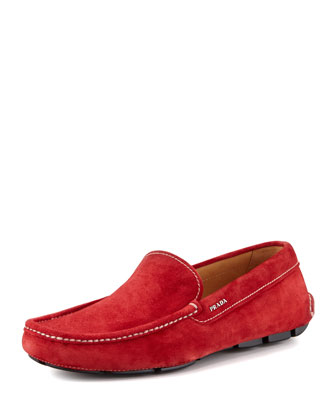 Suede Venetian Driver, Red