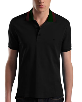Pique-Knit Polo, Black