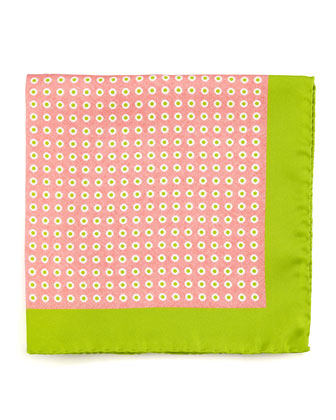 Circle Neat Silk Pocket Square, Pink