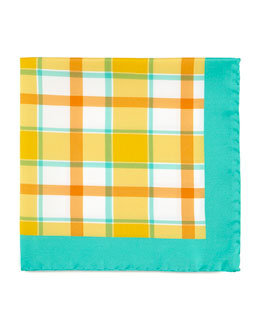 Kiton Exploded Plaid Silk Pocket Square, Orange