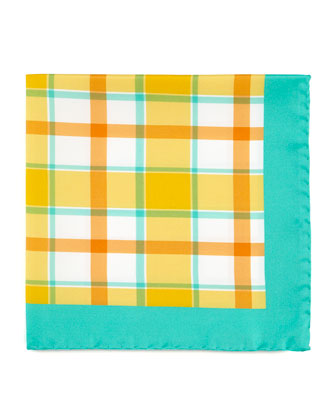 Exploded Plaid Silk Pocket Square, Orange