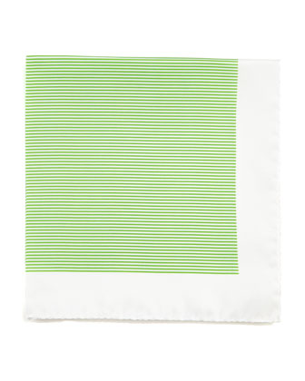 Mini-Striped Silk Pocket Square, Green