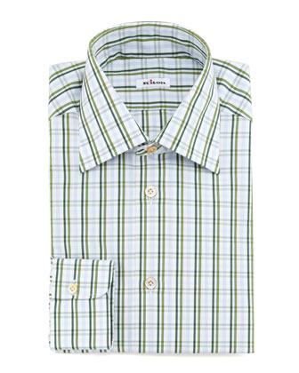 Large-Check Dress Shirt, Green
