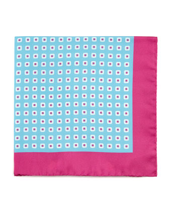 Square Neat Silk Pocket Square, Blue/Pink