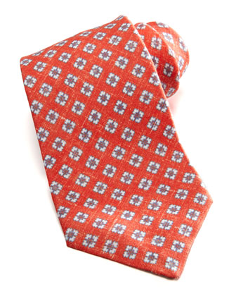 Small-Square Linen Tie, Red