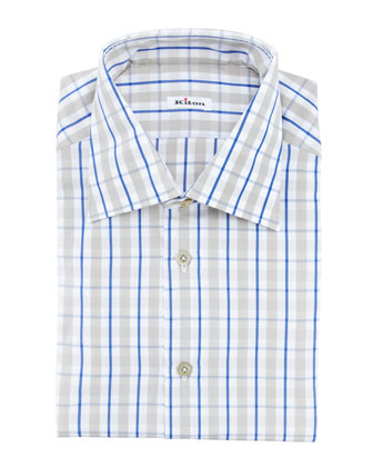 Bold Tattersal Oxford Shirt, Gray