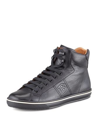 Oxen Logo-Embossed High-Top Sneaker, Black
