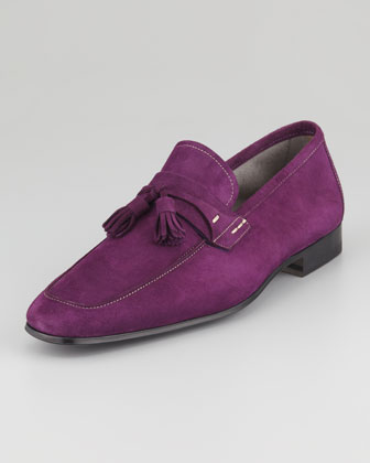 Suede Tassel Loafer, Purple