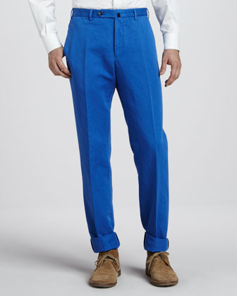 Chinolino Linen-Cotton Pants, Bright Blue