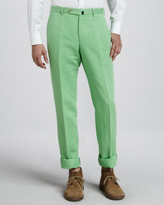 Chinolino Linen-Cotton Pants, Bright Green
