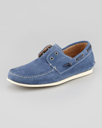 Schooner Perforated Boat Shoe, Blue