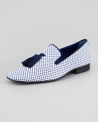 Polka Dot-Print Tassel Loafer